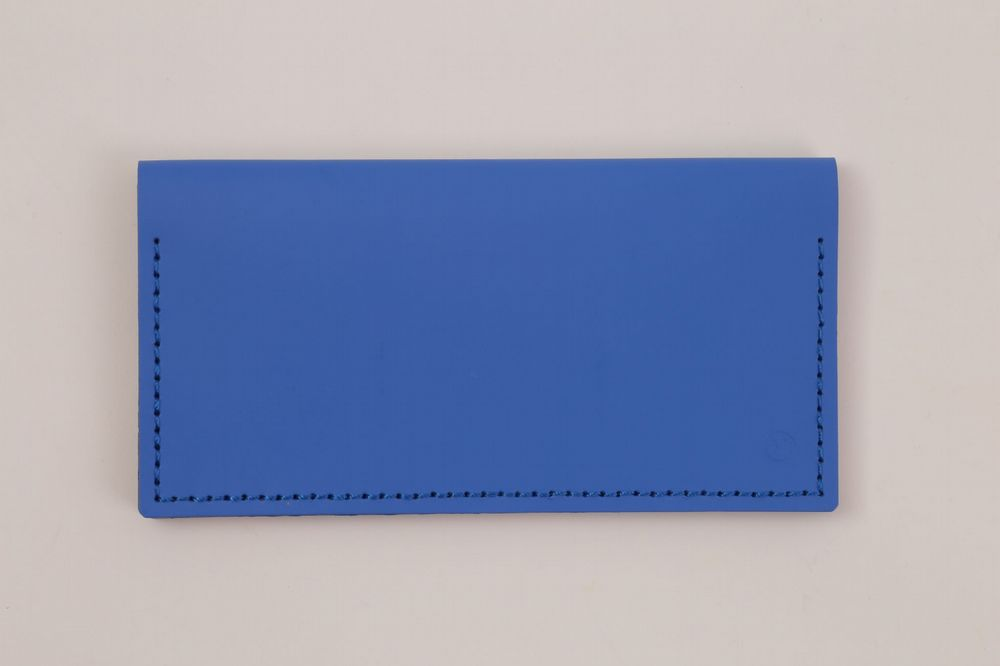Recycled Leather - Double Clutch Wallet - Blue